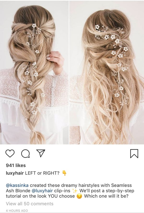Hair stylist instagram post caption with call to action