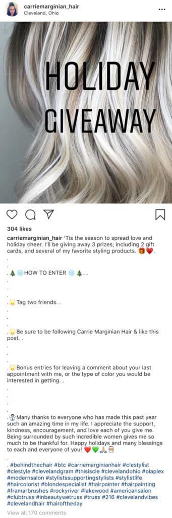 Salon Instagram competition post caption