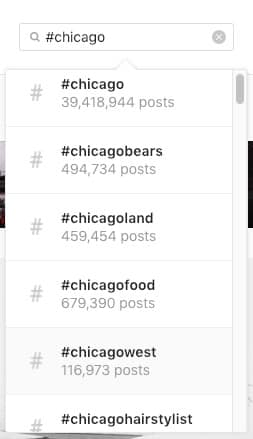 Local hashtags on Instagram starting with Chicago