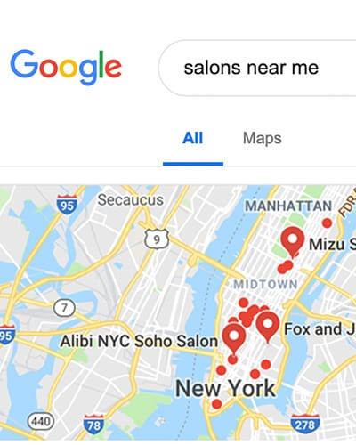 Search for hair salon