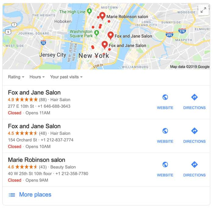 Google result for salons in New York