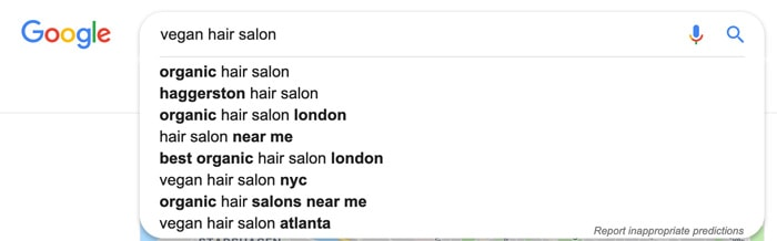 Hair salon keyword research
