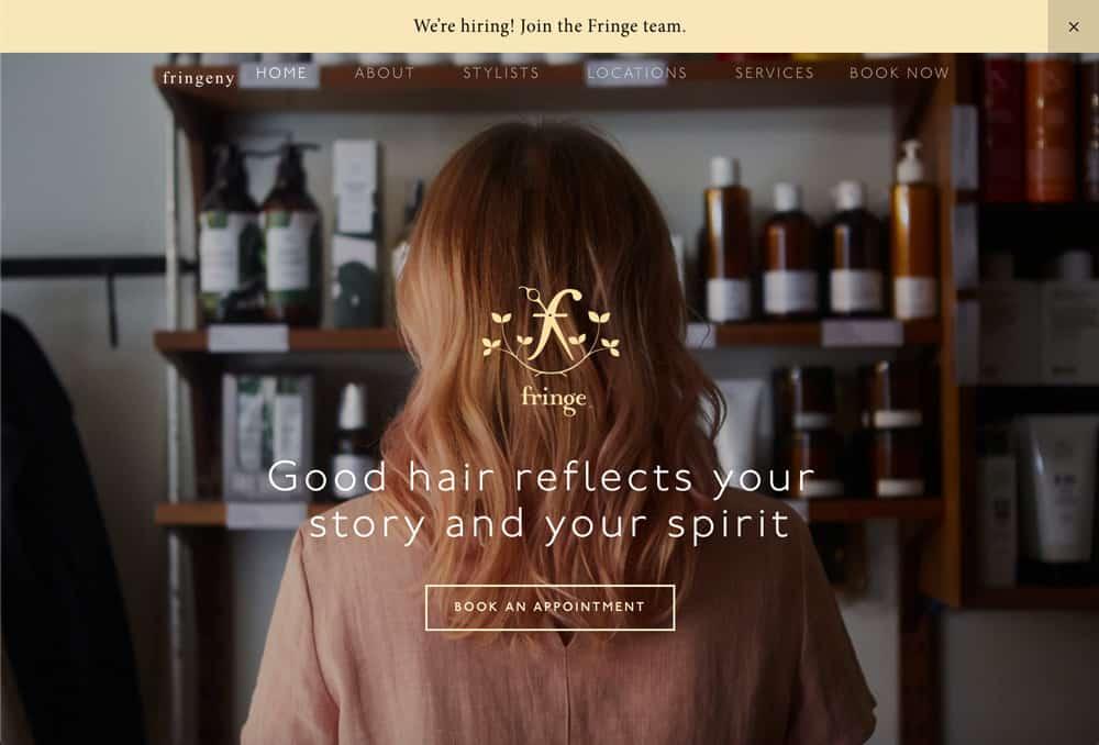 Hair salon website example