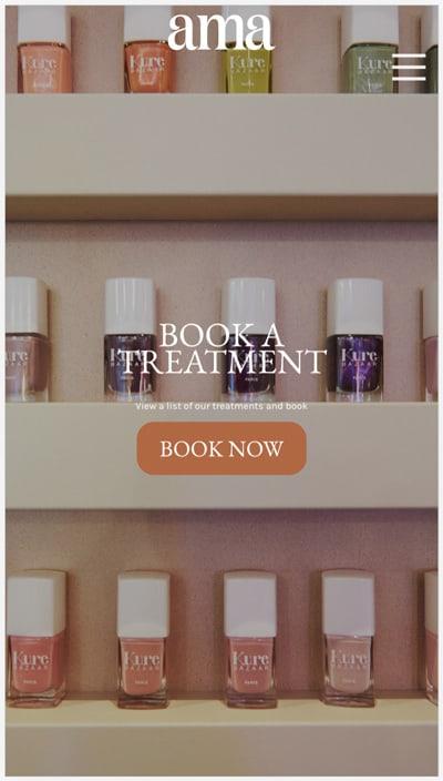 Nail salon website design on mobile