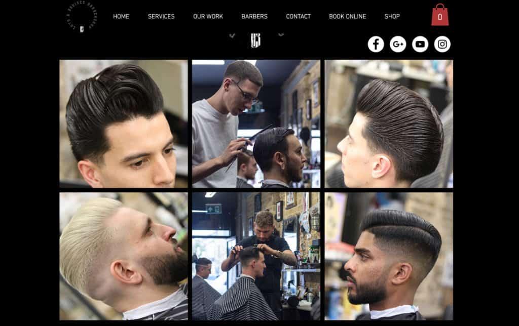 Barbershop website idea with social media