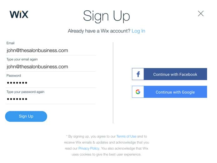 Sign up to Wix for salons