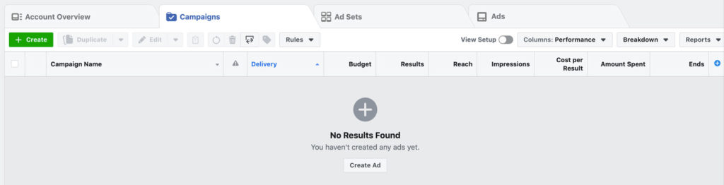 Facebook Ads Manager View for Your Salon Facebook Ads