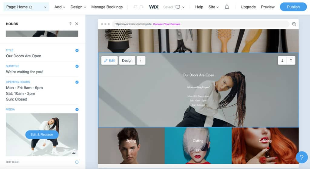 Free salon website