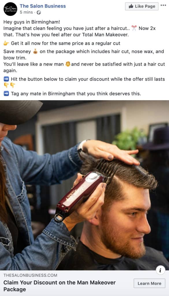 Hair salon facebook ad example