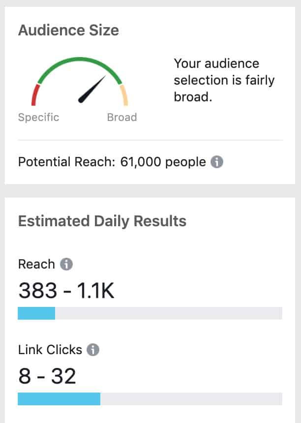 Salon facebook advertizing target