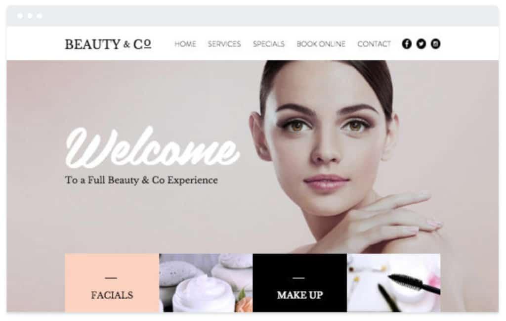 Wix beauty salon website design template