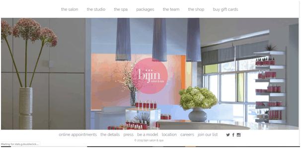 Bijin salon and spa website example