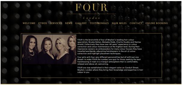 Four Salon Website inspiration