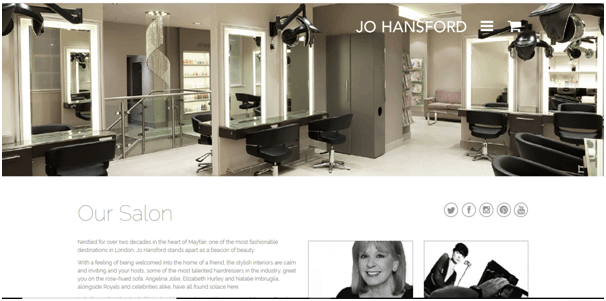 Jo Hansford hair salon website example