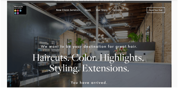 Metropolis salon website example