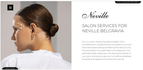 Neville hair and beauty salon website