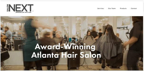 Next hair salon website design inspiration