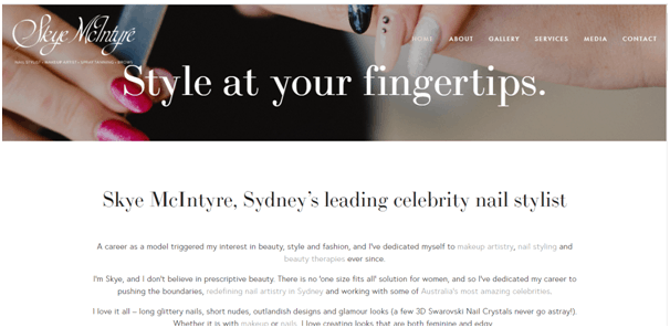 Nail salon website inspiration