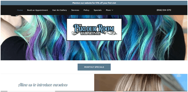 The Parlour Website Example