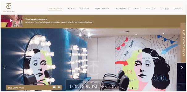 The Chapel salon website design