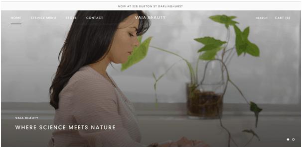 Vaia Beauty Salon Website Example
