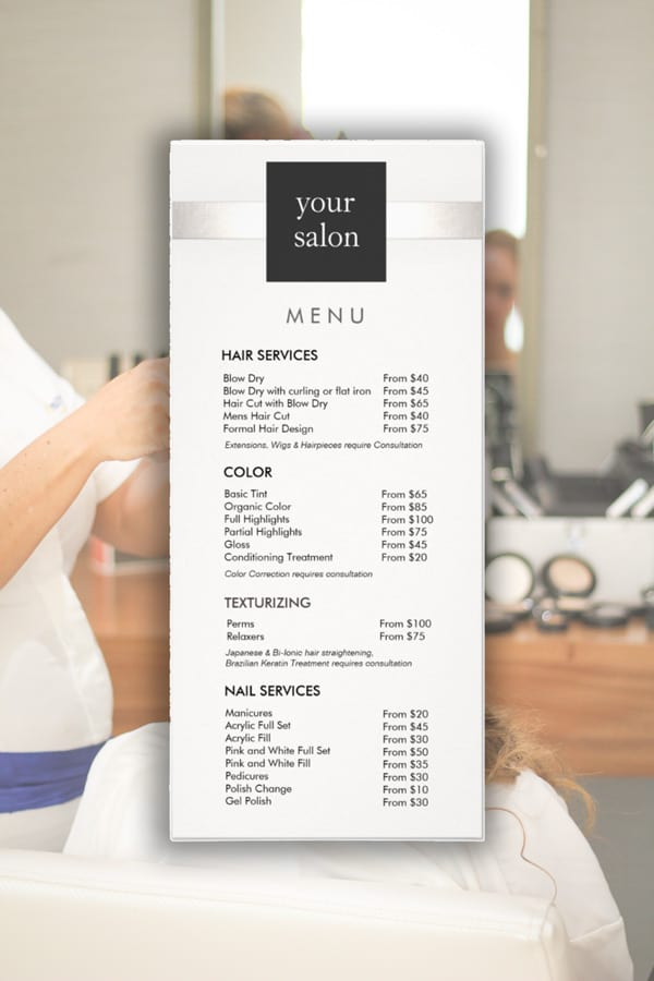 39 Popular Hair Salon Services Menu Price List