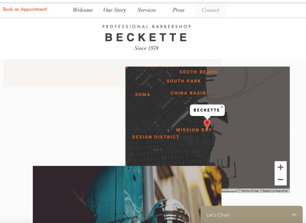 Male salon website design ideas