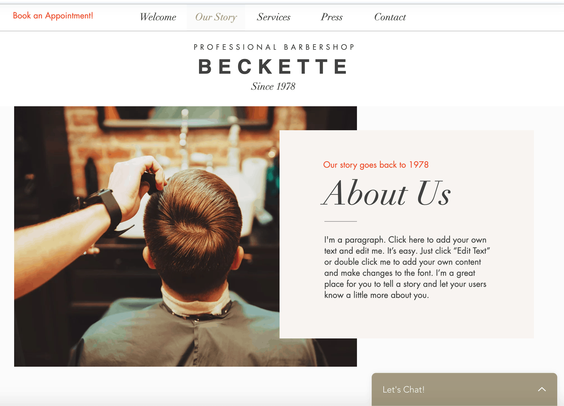 Barbershop website template