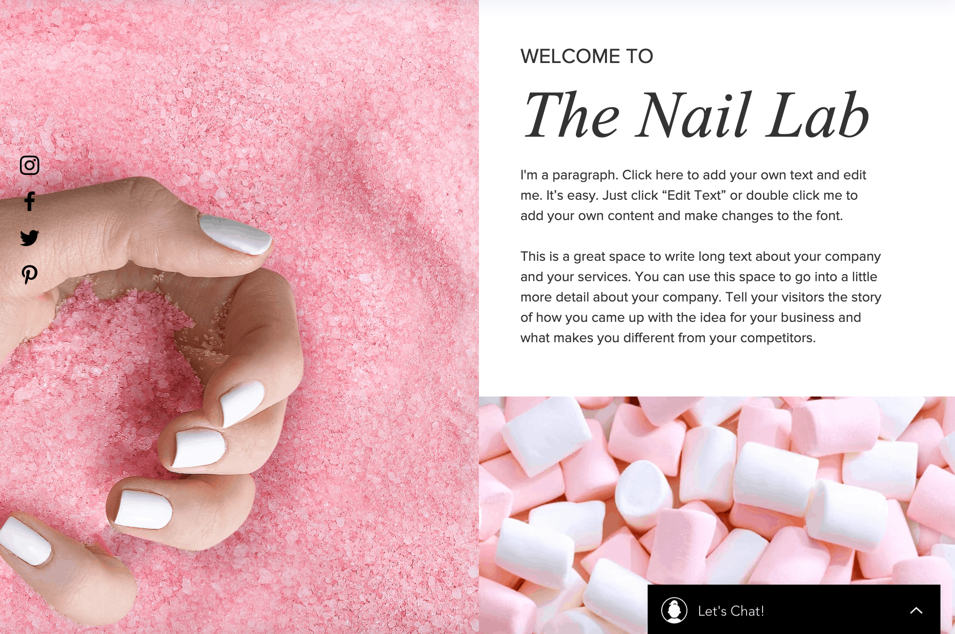 Nail salon website design