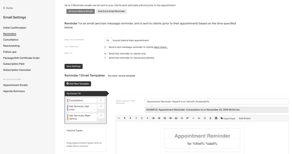 Setup reminders in acuity