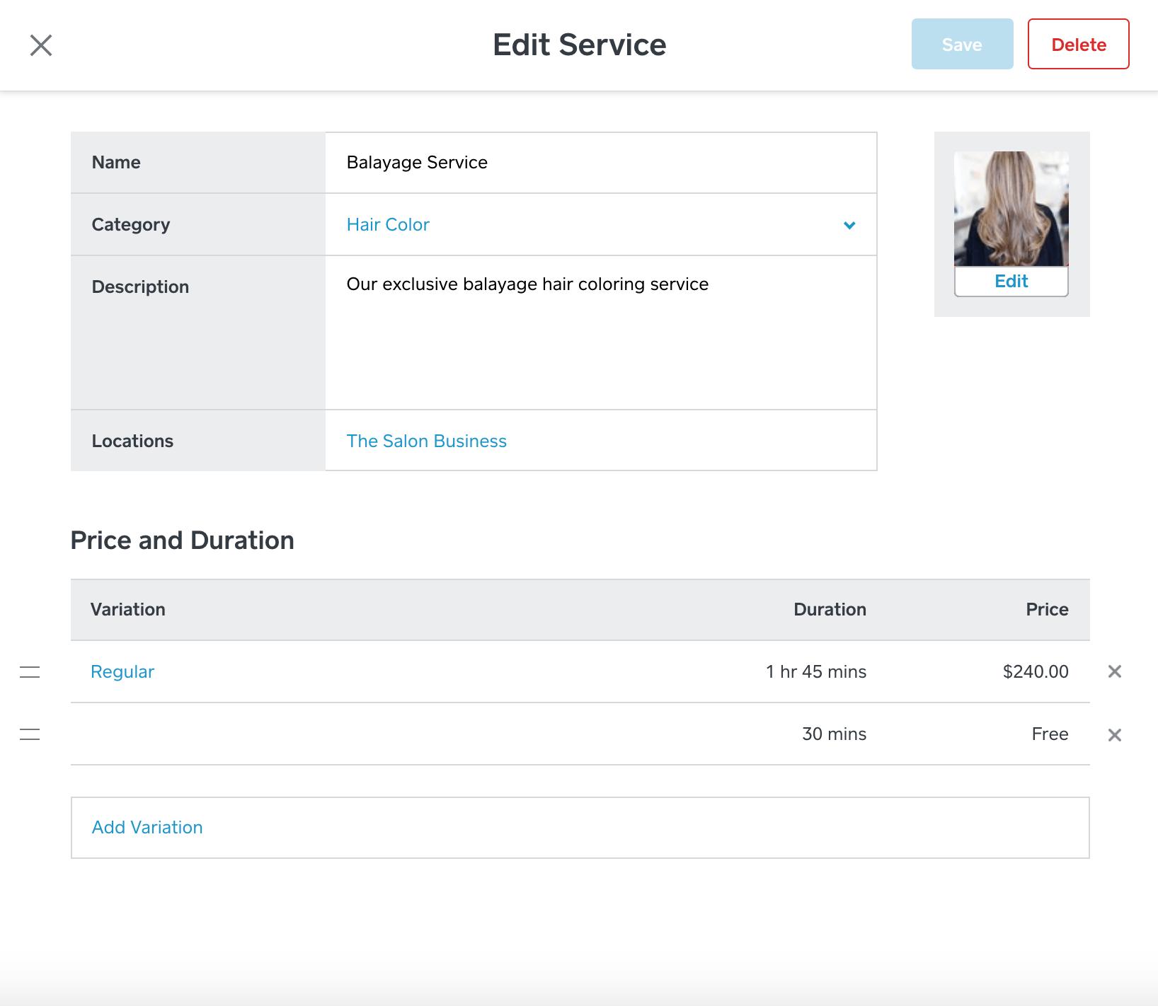 Managing salon service inventory