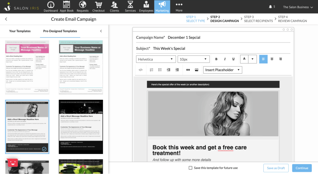 Email templates for salons