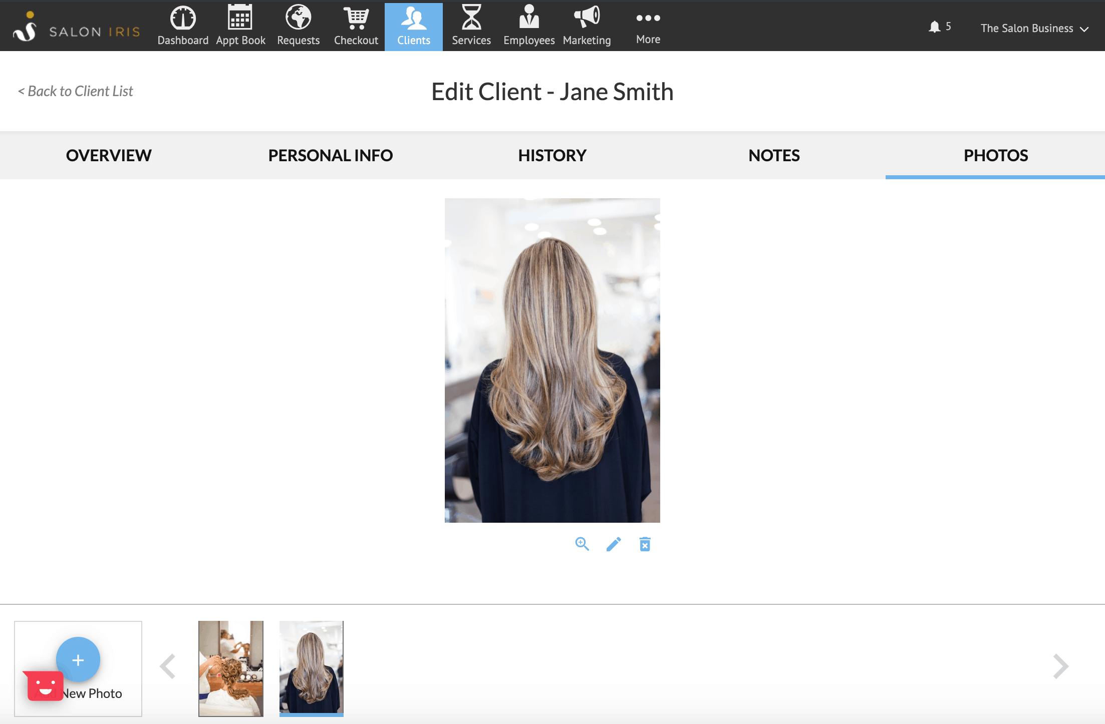 Store salon client photos in salon software