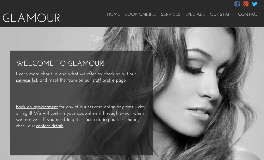 Salon website template from Salon Iris