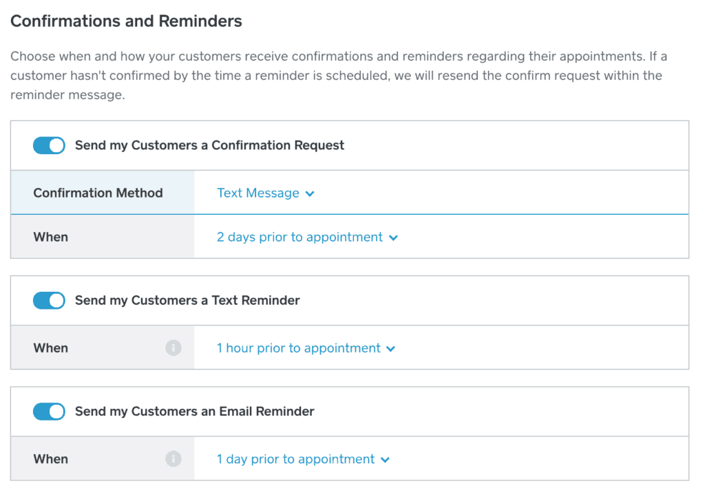 Configure e-mail and sms reminders in Square Appointments
