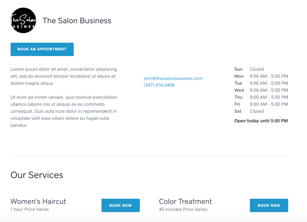 Square Appointments Booking Website