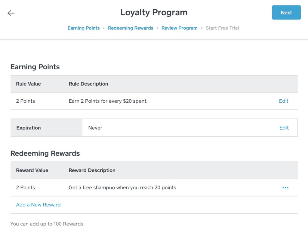 Square customer loyalty program