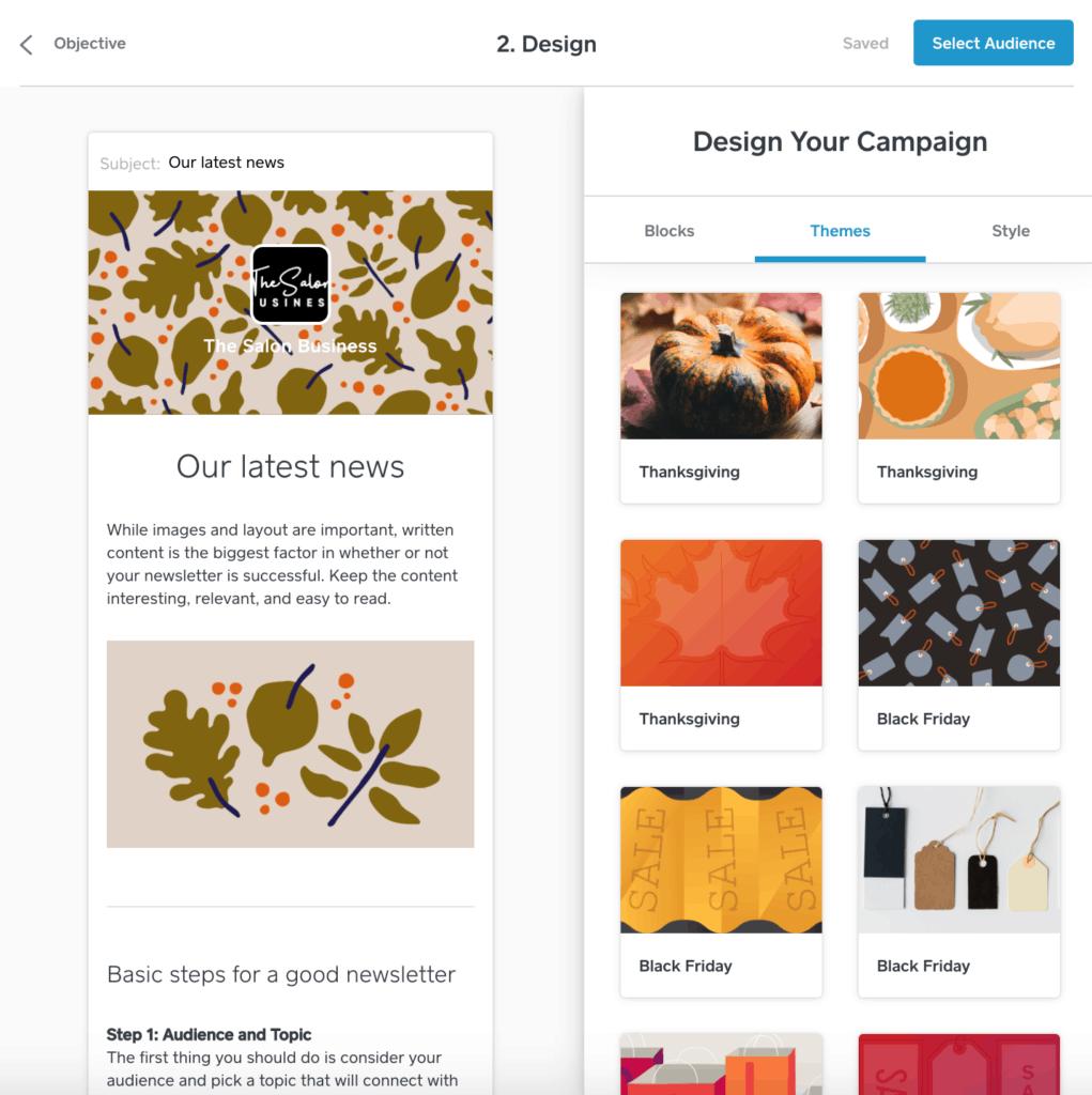 Square salon email designs
