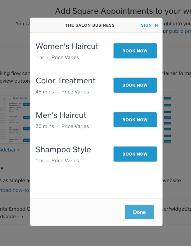 Square Booking widget