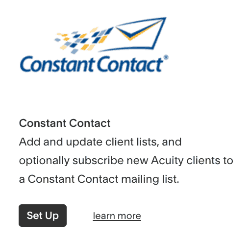 Integrate Constant Contact with Acuity