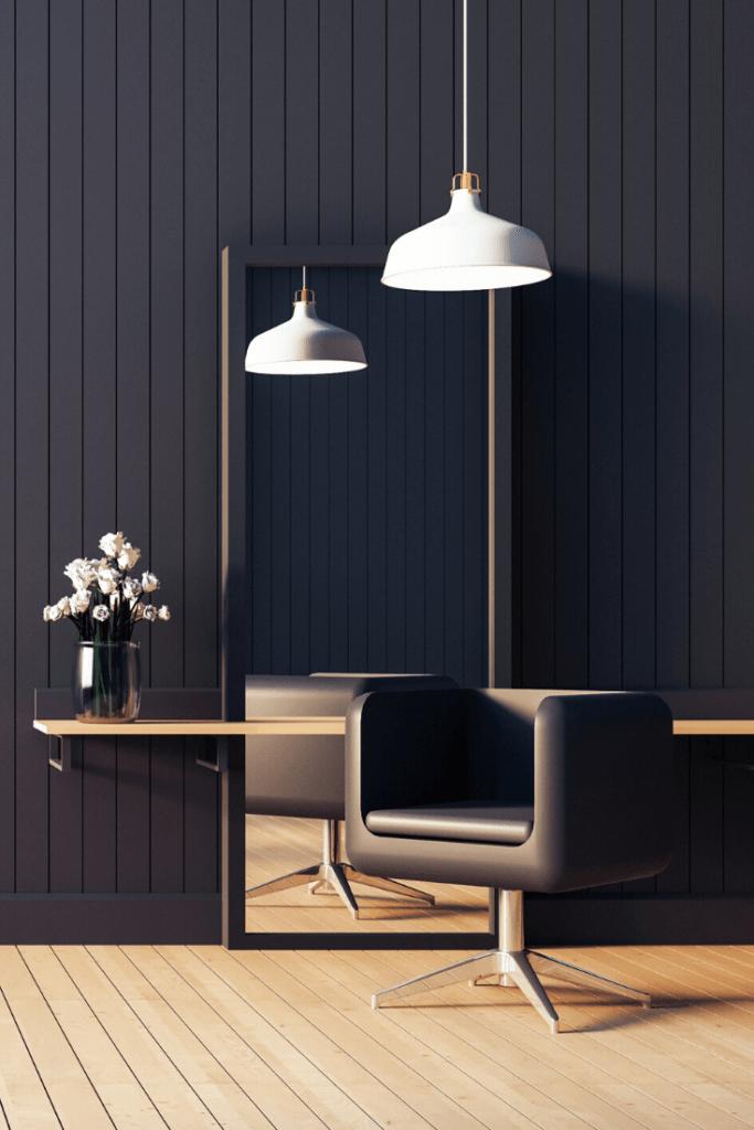 Black salon design in small studio salon