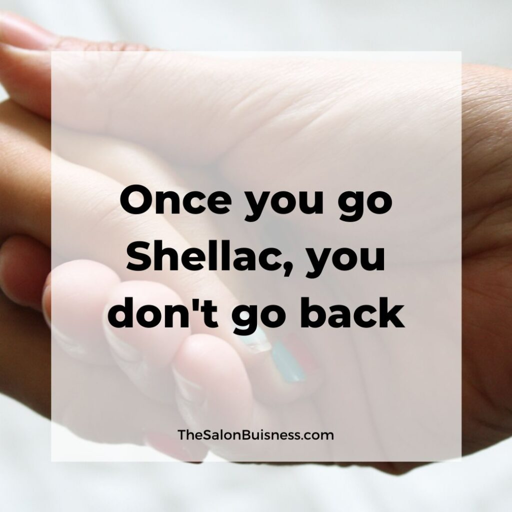 Funny gel nail quote - shellac - woman with blue nails