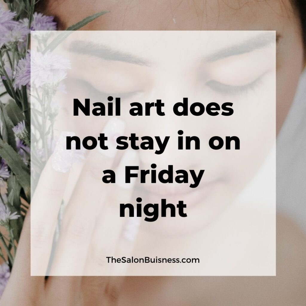 Funny nail art quote - woman holding flowers
