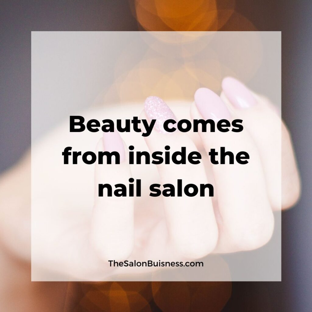 Funny nail salon quotes about beauty - woman with pink nails