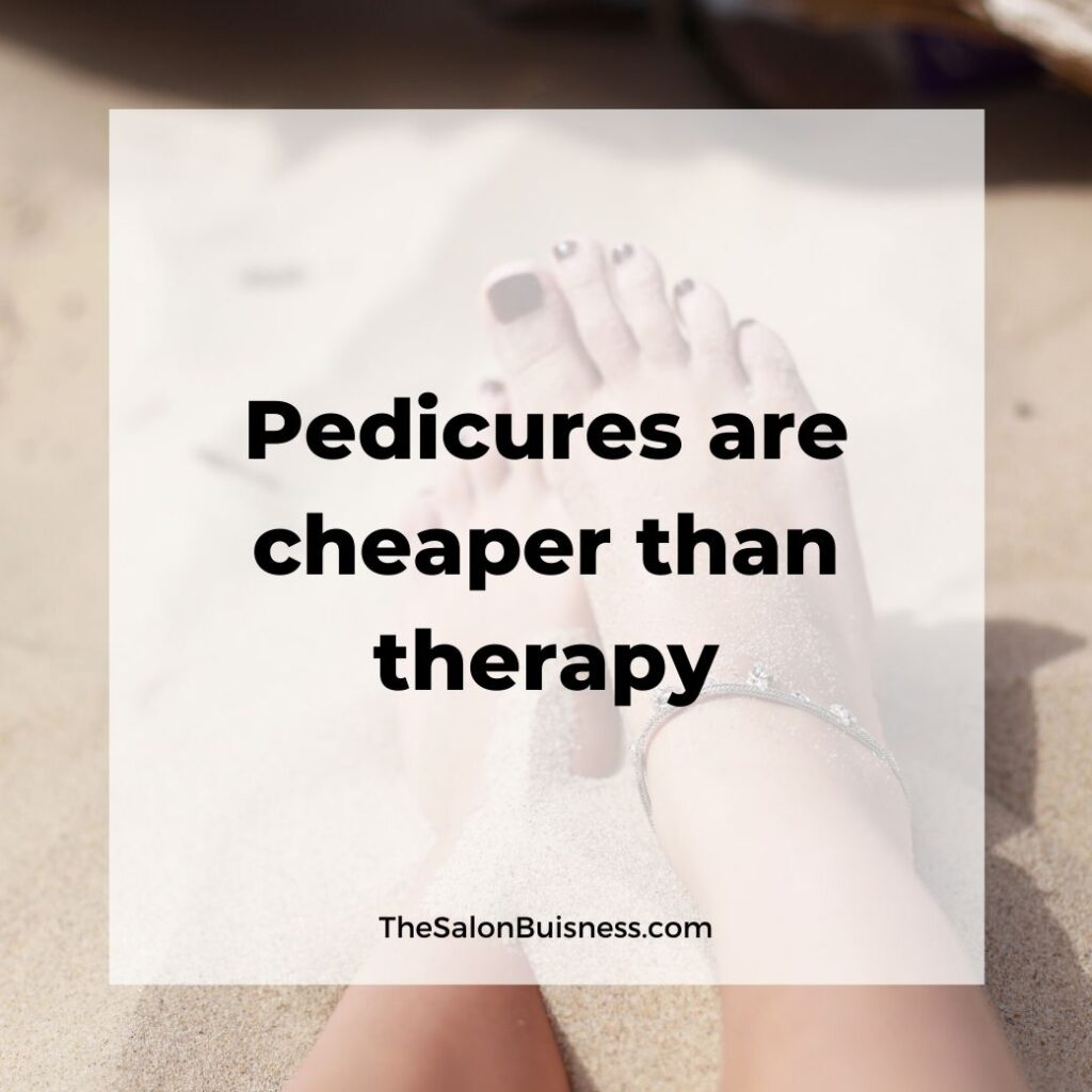 Funny pedicure quote - woman with anklet and brown toes