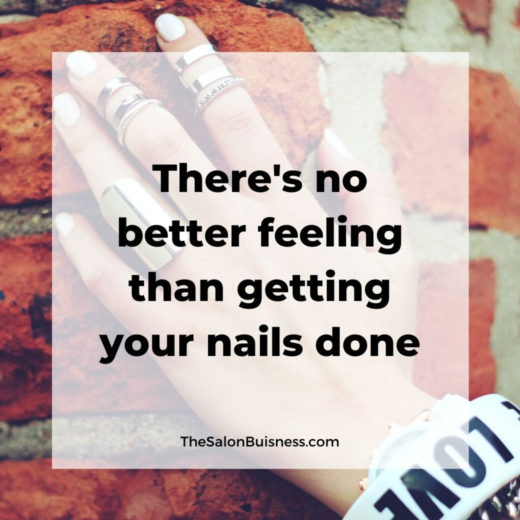 Getting nails done motivational quote - woman holding bricks