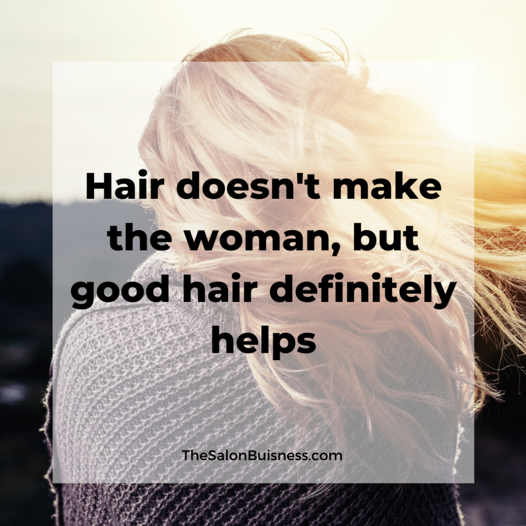 Quote about good hair - blond woman in wind.