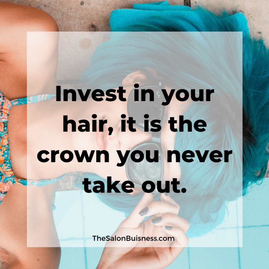 Woman with blue hair and sunglasses lying down - quote about taking care of your hair.