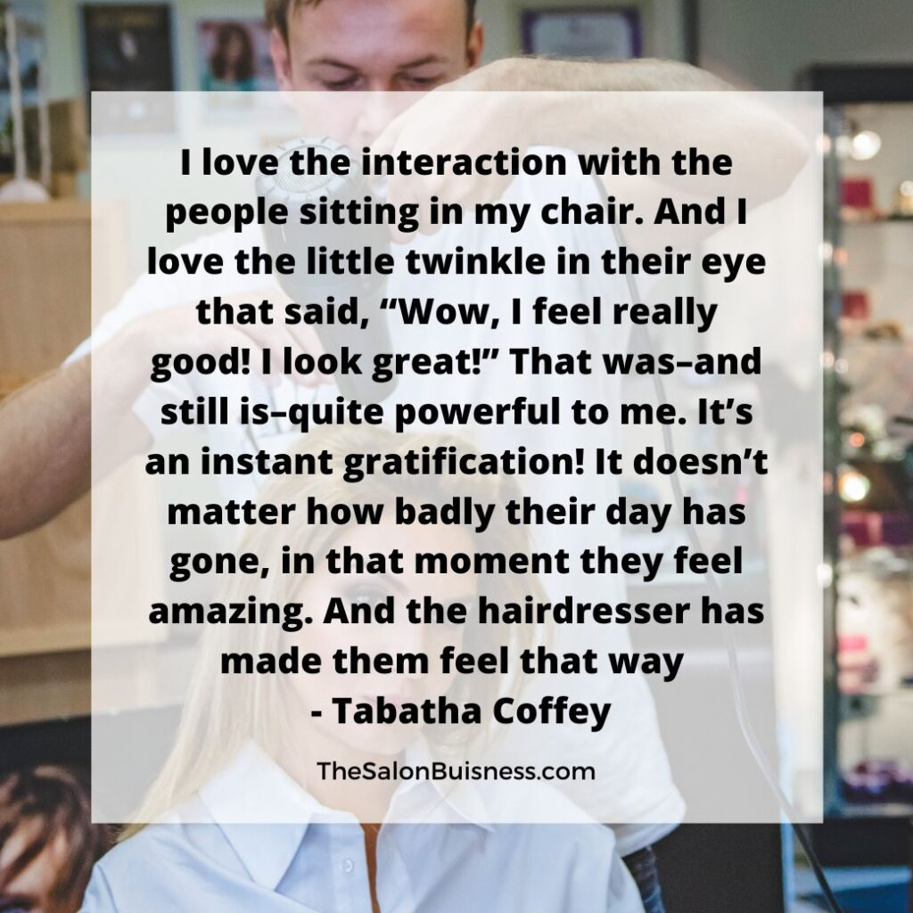 Man blowdrying blonde woman hair - quote by Tabatha Coffey