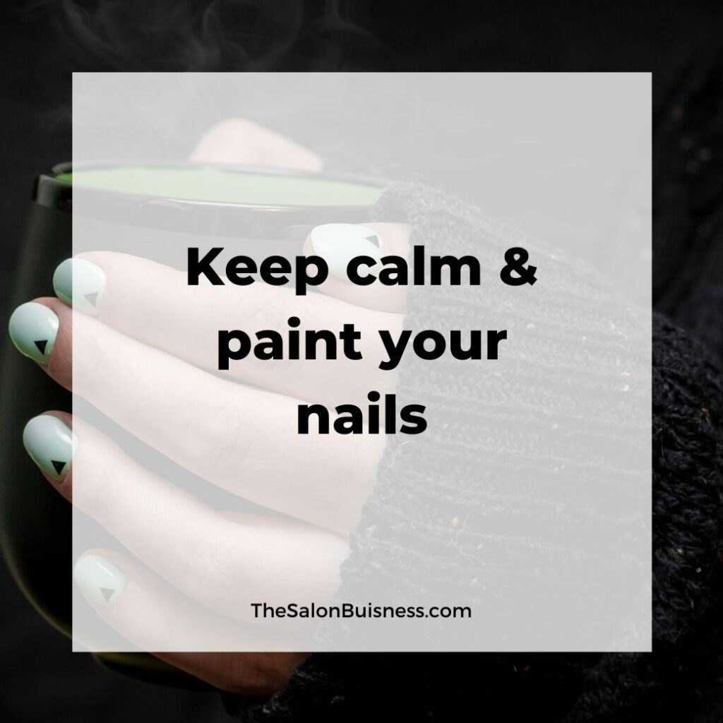 Keep calm and paint your nails - green nails holding cup of matcha